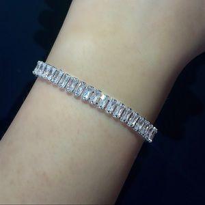 Rectangular Baguette Diamond CZ Tennis Bracelet